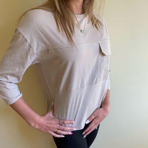 blush cropped sleeve shirt